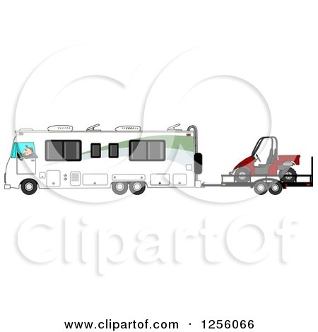 Clipart of a Caucasian Man Driving a Class a Motorhome and Towing a Utv - Royalty Free Illustration by djart