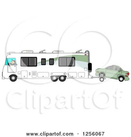 Clipart of a Caucasian Man Driving a Class a Motorhome and Towing a Car with a Dolly - Royalty Free Illustration by djart