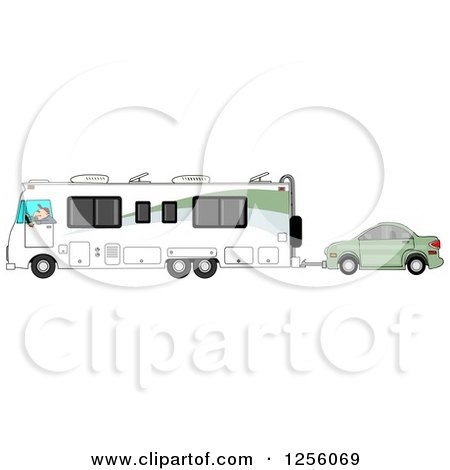 Clipart of a Caucasian Man Driving a Class a Motorhome and Towing a Car - Royalty Free Illustration by djart