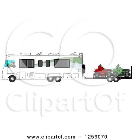 Clipart of a Caucasian Man Driving a Class a Motorhome and Towing Atvs - Royalty Free Illustration by djart