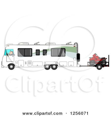 Clipart of a Caucasian Man Driving a Class a Motorhome and Towing an Atv - Royalty Free Illustration by djart