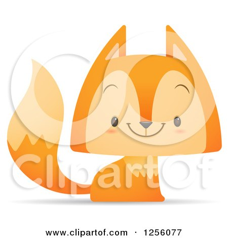 Clipart of a Cute Fox Smiling - Royalty Free Vector Illustration by Qiun