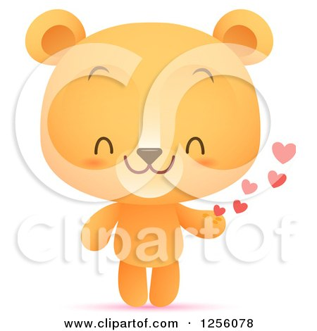 Clipart of a Cute Bear with Hearts - Royalty Free Vector Illustration by Qiun