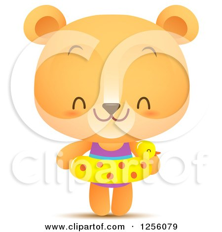 Clipart of a Cute Summer Bear with an Inner Tube - Royalty Free Vector Illustration by Qiun