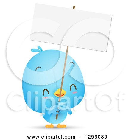 Clipart of a Cute Bluebird Holding up a Blank Sign - Royalty Free Vector Illustration by Qiun