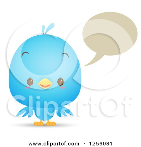 Clipart of a Cute Bluebird Talking - Royalty Free Vector Illustration by Qiun