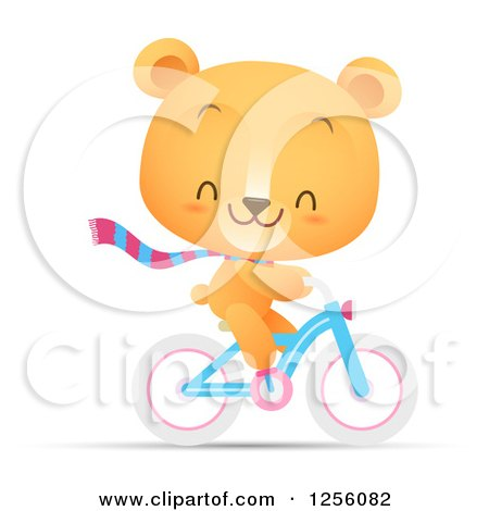 Clipart of a Cute Bear Riding a Bicycle - Royalty Free Vector Illustration by Qiun