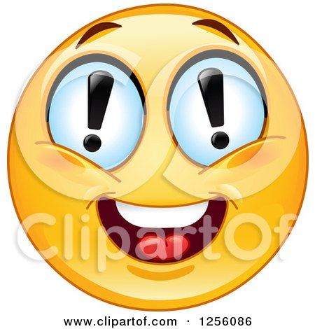 Yellow Smiley Emoticon with Exclamation Point Eyes Posters, Art Prints