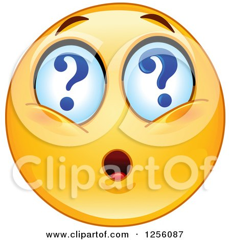 Clipart of a Yellow Smiley Emoticon with Question Mark Eyes - Royalty Free Vector Illustration by yayayoyo