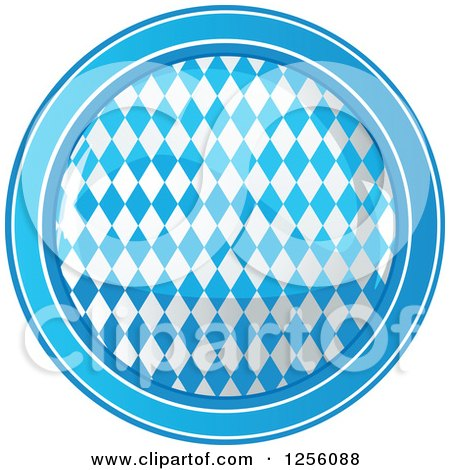 Clipart of a Round Blue Harlequin Patterned Oktoberfest Icon - Royalty Free Vector Illustration by Pushkin