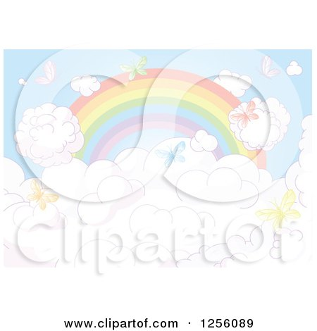 Clipart of a Faded Rainbow and Colorful Butterflies over Clouds - Royalty Free Vector Illustration by Pushkin