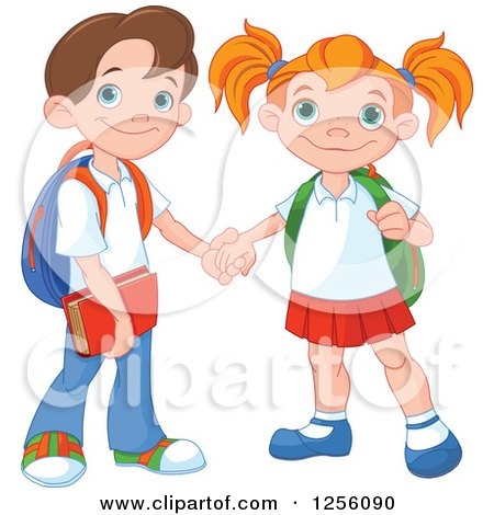 Clipart of a Caucasian School Boy and Girl Holding Hands - Royalty Free Vector Illustration by Pushkin