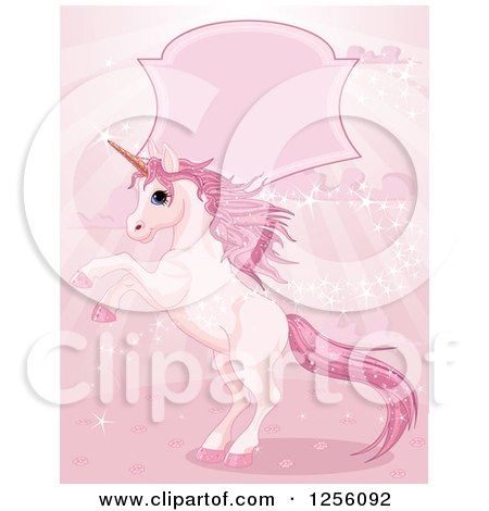 Clipart of a Fantasy Magic Unicorn Rearing Under a Frame on Pink Rays - Royalty Free Vector Illustration by Pushkin