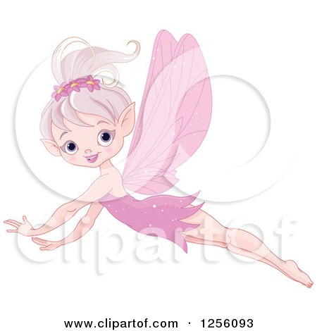Clipart of a Happy Pink Fairy Flying - Royalty Free Vector Illustration by Pushkin