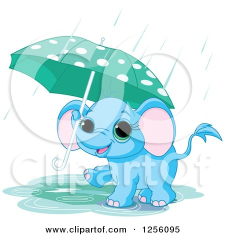 Clipart of a Cute Blue Baby Elephant Walking with an Umbrella Through a Rain Puddle - Royalty Free Vector Illustration by Pushkin