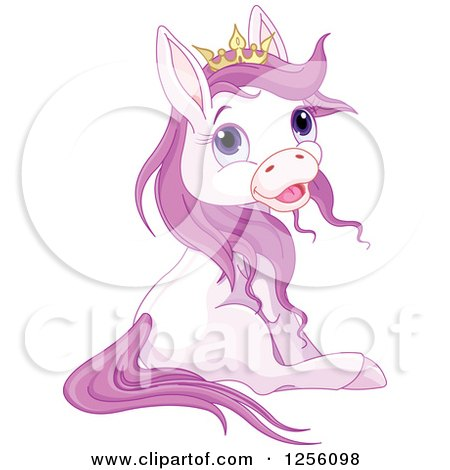 Clipart of a Cute Princess Pony Horse Sitting - Royalty Free Vector Illustration by Pushkin