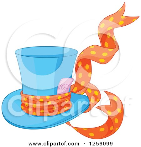 Clipart of a Blue Mad Hatter's Top Hat with a Ribbon and Ten Percent Discount - Royalty Free Vector Illustration by Pushkin