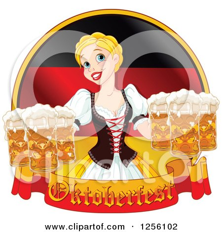 Clipart of a Blond Beautiful Beer Maiden with Oktoberfest Beer over a German Flag - Royalty Free Vector Illustration by Pushkin