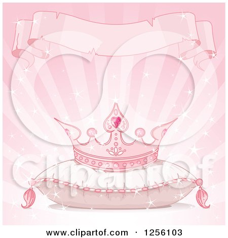 Clipart Of A Pink Princess Crown On A Pillow Under A Torn Ribbon Banner On Pink Rays Royalty Free Vector Illustration