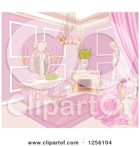 Clipart of a Fancy Princess Boudoir Bedroom Interior with a Gown on a Chair - Royalty Free Vector Illustration by Pushkin
