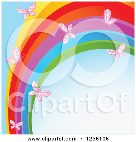 Clipart of a Rainbow Swoosh and Pink Butterflies over Blue - Royalty Free Vector Illustration by Pushkin