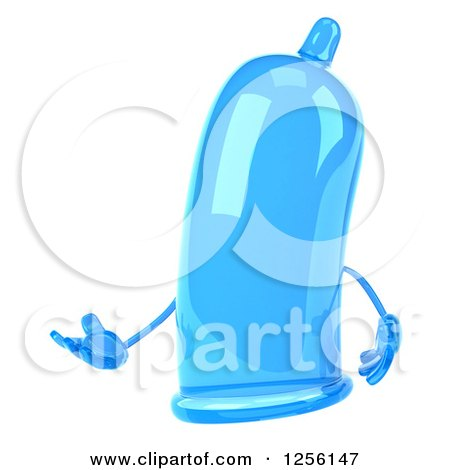 Clipart of a 3d Blue Condom Character Presenting - Royalty Free Illustration by Julos