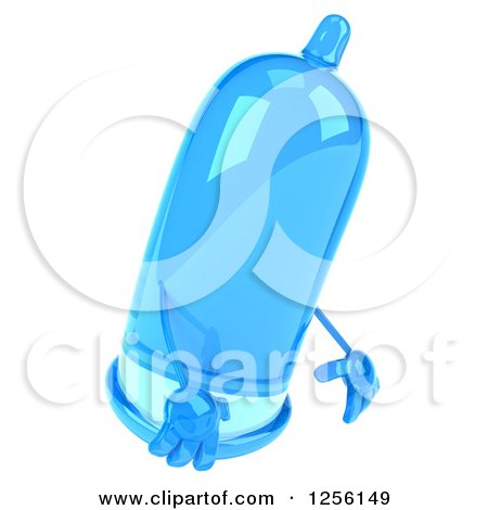 Clipart of a 3d Blue Condom Character Pouting - Royalty Free Illustration by Julos