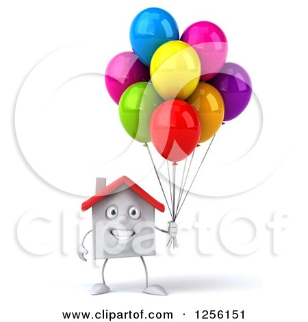 Clipart of a 3d White House with Colorful Party Balloons - Royalty Free Illustration by Julos