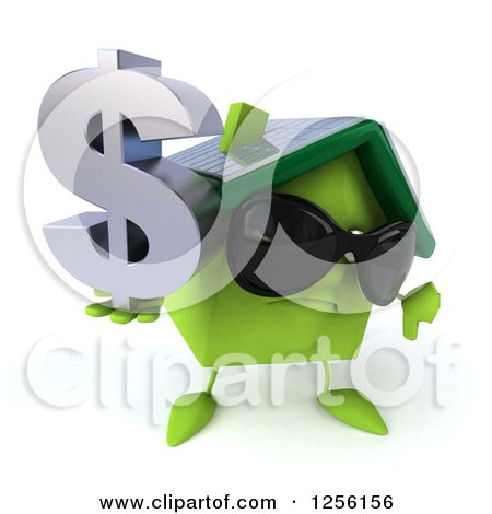 Clipart of a 3d Happy Green Home with a Thumb down and Dollar Symbol - Royalty Free Illustration by Julos