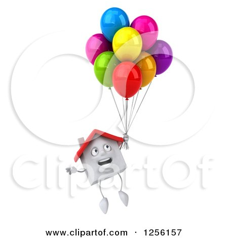 Clipart of a 3d White House Floating with Colorful Party Balloons - Royalty Free Illustration by Julos
