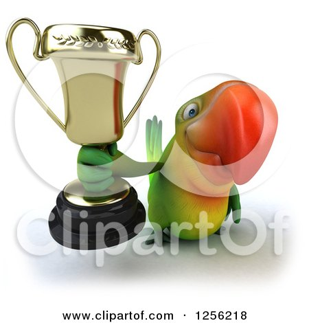 Clipart of a 3d Green Parrot Holding up a Trophy - Royalty Free Illustration by Julos
