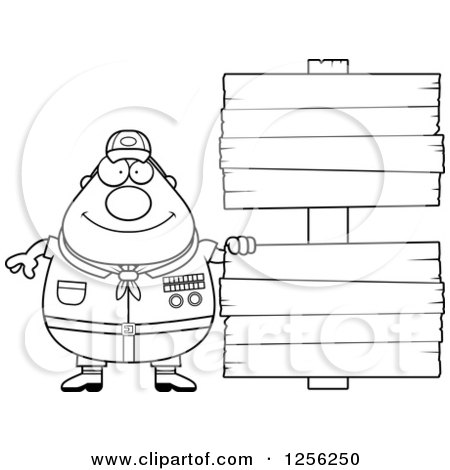 Clipart of a Black and White Chubby Male Scout Master with Wooden Signs - Royalty Free Vector Illustration by Cory Thoman