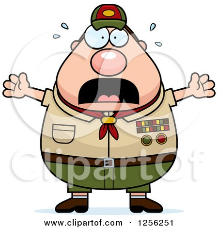 Clipart of a Scared Screaming Chubby Male Caucasian Scout Master - Royalty Free Vector Illustration by Cory Thoman
