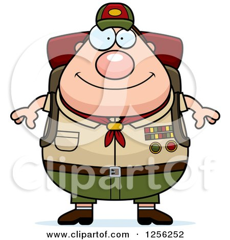 Clipart of a Chubby Male Caucasian Scout Master Wearing a Backpack - Royalty Free Vector Illustration by Cory Thoman