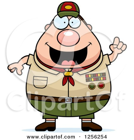 Clipart of a Chubby Male Caucasian Scout Master with an Idea - Royalty Free Vector Illustration by Cory Thoman