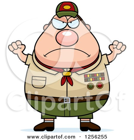 Clipart of a Mad Chubby Male Caucasian Scout Master Waving His Fists - Royalty Free Vector Illustration by Cory Thoman