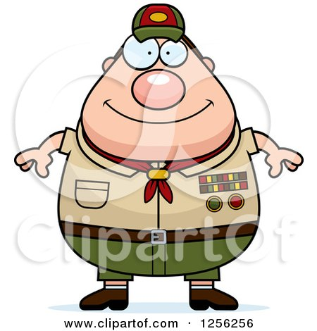 Clipart of a Happy Chubby Male Caucasian Scout Master - Royalty Free Vector Illustration by Cory Thoman