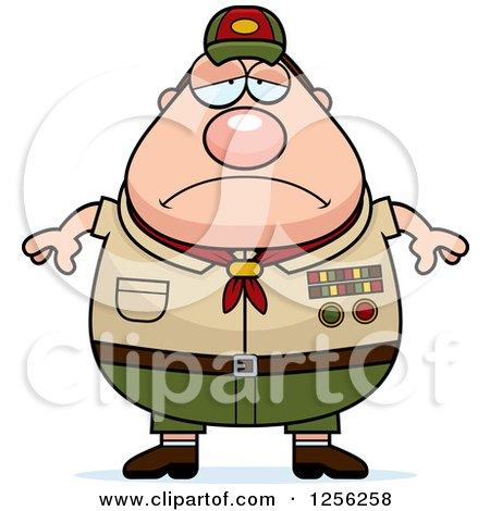 Clipart of a Sad Depressed Chubby Male Caucasian Scout Master - Royalty Free Vector Illustration by Cory Thoman