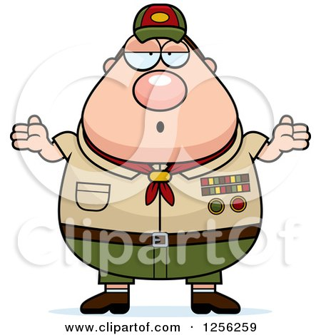 Clipart of a Careless Shrugging Chubby Male Caucasian Scout Master - Royalty Free Vector Illustration by Cory Thoman