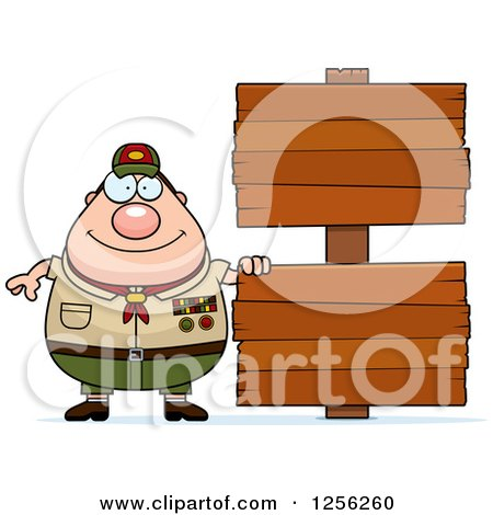 Clipart of a Chubby Male Caucasian Scout Master with Wooden Signs - Royalty Free Vector Illustration by Cory Thoman