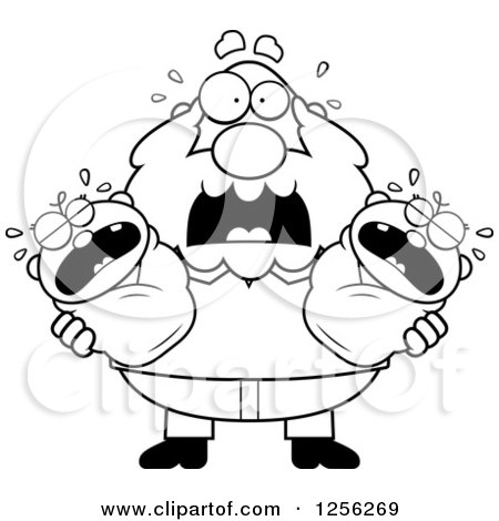 Clipart of a Black and White Stressed Grandpa Holding Screaming Twin Babies - Royalty Free Vector Illustration by Cory Thoman