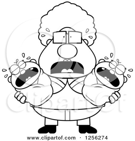 Clipart of a Black and White Stressed Granny Holding Twin Babies - Royalty Free Vector Illustration by Cory Thoman