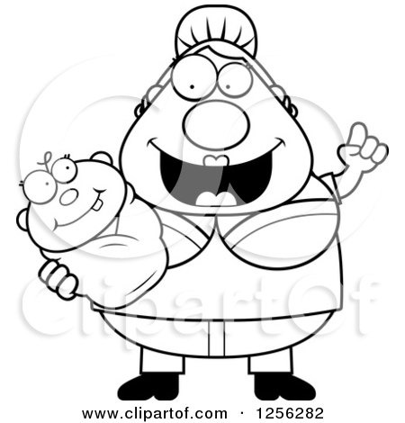 Clipart of a Black and White Happy Mother with an Idea, Holding a Baby - Royalty Free Vector Illustration by Cory Thoman
