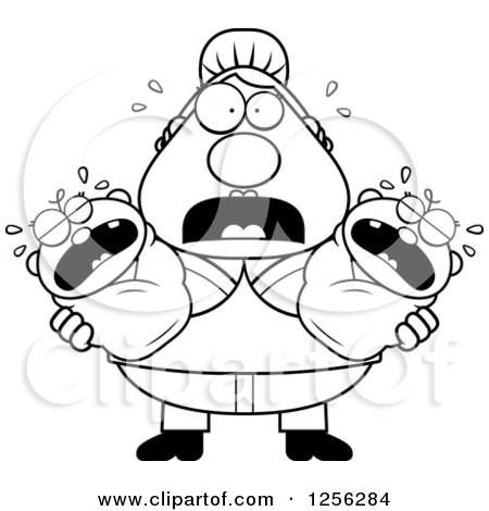 Clipart Of A Stressed Caucasian Mother Holding Twin Babies
