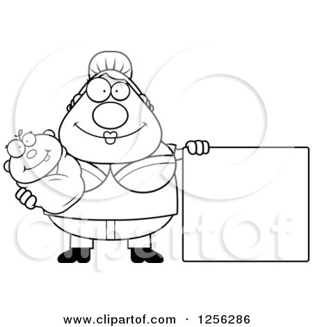 Clipart of a Black and White Happy Mother Holding a Baby by a Blank Sign - Royalty Free Vector Illustration by Cory Thoman