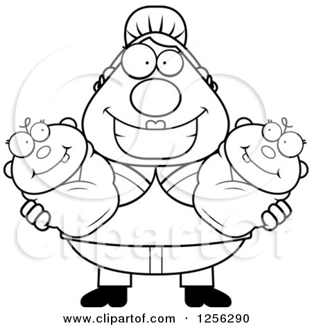 Clipart of a Black and White Happy Mother Holding Twin Babies - Royalty Free Vector Illustration by Cory Thoman
