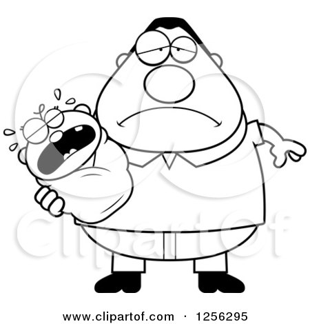 Clipart of a Black and White Tired Father Holding a Wailing Baby - Royalty Free Vector Illustration by Cory Thoman