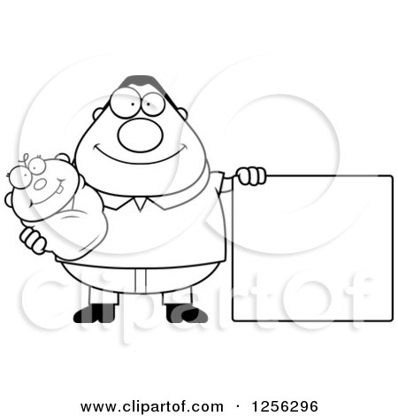 Clipart of a Black and White Happy Father Holding a Baby by a Blank Sign - Royalty Free Vector Illustration by Cory Thoman
