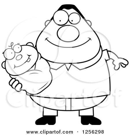 Clipart of a Black and White Happy Father Holding a Baby - Royalty Free Vector Illustration by Cory Thoman