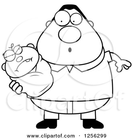 Clipart of a Black and White Surprised Father Holding an Evil Baby - Royalty Free Vector Illustration by Cory Thoman
